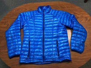 MENS USED MOUNTAIN HARDWEAR Q SHIELD BLUE 850 DOWN PUFFER JACKET SIZE MEDIUM
