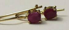 Gold over Sterling Silver 925 Oval Natural Ruby Drop Earrings Estate WIre Style