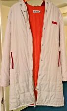 MISS POSH: woman's coat, white/orange, thigh length, hooded, rain resistant