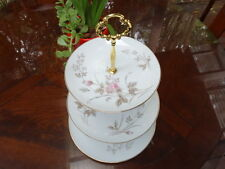 3 Tier Serving Wedding Stand By Noritake Luise Porcelain Gold White Gilt Rose