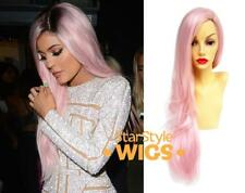 DELUXE KYLIE JENNER LONG PASTEL PINK WAVY HEAT RESISTANT FASHION CELEBRITY WIG