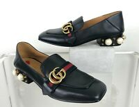 Gucci in Box Dust Bag 7 US 37 EU Black Leather Loafer Heels Shoes Runway Auth