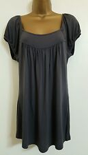 NEW EX W*REHOUSE 8-16 Grey Pleated Jersey Casual Top Blouse