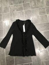 PER UNA SIZE 14 BLACK RUFFLE FRONT STRETCH TOP - FLUTED HEM & SHEER SLEEVES BNWT