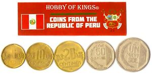 5 PERUVIAN COIN DIFFER COLLECTIBLE COINS FROM SOUTH AMERICA FOREIGN CURRENCY