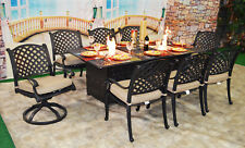 Luxury propane fire pit rectangle outdoor dining set 9 piece cast aluminum patio