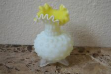 """Antique Hobnail Footed white Yellow Satin Glass Vase Ruffled Art Old 5"""" Estate"""