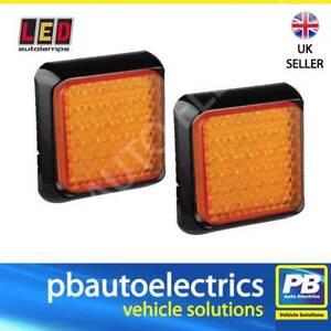 2 x LED Autolamps 80AME Trailer & Commercial Vehicle Square Indicator LED 12/24V