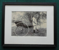 Antique 19th Century Albumen Photo African Man Wearing Bull's Horns Pulling Trap