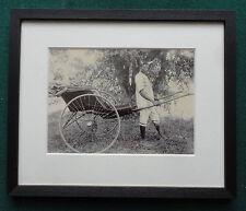 Antique 19th Century Albumen Photo African Man Wearing Bull's Horns Pulling Trap