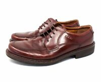 Ecco Mens Size 45 US 12  Brown Leather Shock Point Lace Up Oxford Dress Shoes