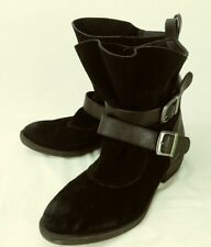 MIA Womens Boots Ankle US 7.5 Black Suede Leather Straps Buckle  6117