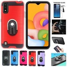 For Samsung A01/ A015, Metallic Brushed Cover Case + Ring/Kickstand/Car Mount/TG