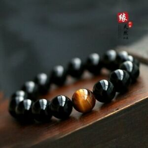 10mm Genuine Natural Black Tourmaline Round Beads Stretch Bracelet AAA