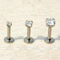 3pc 16G Punk Stainless Steel Stud CZ Crystal Cartilage Lip Ring Body Piercing