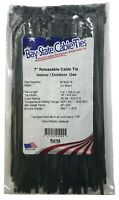 """(500) Black Releasable 7"""" Inch Nylon Cable Wire Wrap Zip Ties 50 LBS USA MADE"""