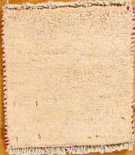 New Contemporary Solid Handmade Beige Ivory Wool Square Rug 1'x1'