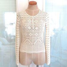 *NEW* Cynthia Steffe Light Beige Tan Ecru Crochet Long Sleeve Henley Top. XS NWT