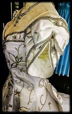Pre Owned vintage wedding dress Size 0/2. Gold Tone Embroidery,Short Sleve,