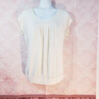 Ann Taylor Loft Top Shirt Sleeveless Blouse $60 Size S Top Front Pleat Ivory