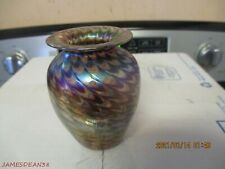 GLASS EYE STUDIO PURPLE IRIDESCENT PULLED FEATHER ART GLASS VASE MT ST HELENS 85