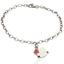 Bracciale rolo' hello kitty con cuore rosso argento titolo 925 smaltato a fuoco