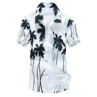 Stylish Men's Aloha Shirt Cruise Tropical Luau Beach Hawaiian Palm Tree Fashion