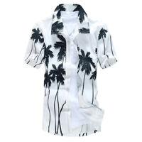 Stylish Men's Aloha Shirt Cruise Tropical Luau Beach Hawaiian Palm Tree Fashion