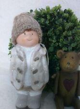 clayre & eef Decoración De Navidad Niño invierno Christmas 17cm Shabby cerámica