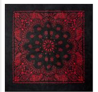 Cotton Bandana Scarf Black Red Western Round Paisley Extra Large 27 inch square