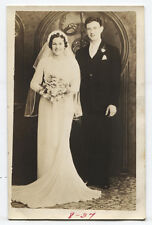 Photo Postcard Beautiful Wedding Photo, Toned Silver Print. Dated 1937.