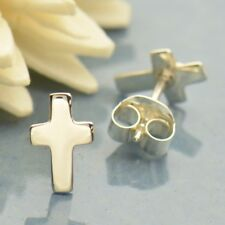 Tiny Sterling Silver .925 Cross Stud Post Earrings - Religious Spiritual Gift