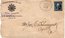 APOLLO COUNCIL ROYAL ARCANUM, APOLLO, PA   1895  FDC8726