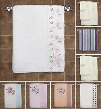 Luxury 100% Cotton Bath Hand Towel White Pink Floral Stripe Diamante Soft Set