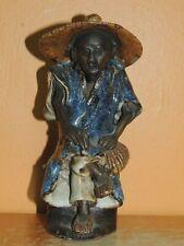 """Chinese Mud Man/ Men Blue Robe hat & purse 6"""" drip glaze unmarked Mudman Antique"""