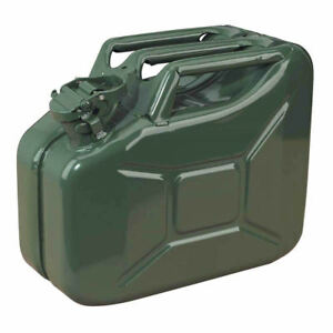 10L Green Metal Jerry Can Fuel Petrol Diesel Oil Containers Canister Army 4x4