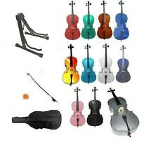 New Cello,Bag,Bow,Bridge,Strings+Cello Stand+Rosin~Beginner Student Gift School