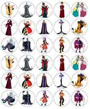 30 x Disney Villains Edible Cupcake Toppers Wafer Paper Fairy Cake Topper