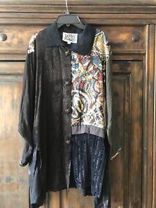 VINTAGE Donna Jessica Swing Jacket Tunic Lagenlook Art Wear Nothing Matches 1 XL