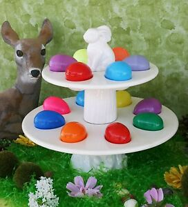 POTTERY BARN CERAMIC TIERED EASTER EGG STAND –NIB– AN EGGS-TRA SPECIAL PEDESTAL!