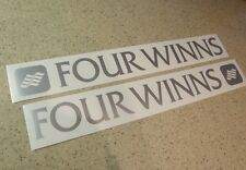 "Four Winns Vintage Boat Decal 18"" Silver 2-Pk FREE SHIP + FREE Fish Decal!"
