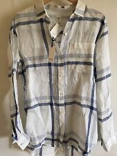 NWT GAP Womens Boyfriend Linen Blouse Top Shirt Stripe Red White Blue XS S M $54