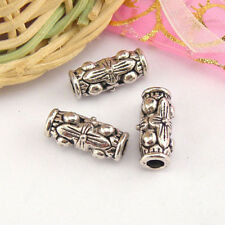 4Pcs Tibetan Silver Dotted tube Spacer Beads 7x16mm A445