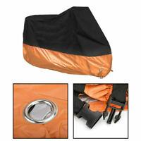 """L 86"""" Noir&Orange Housse Bâche Moto UV Pluie Protection pour Dyna Electra/Glide"""