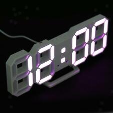 Modern Digital 3D LED Wall Clock Alarm Clock Snooze 12/24 Hour Display Pink