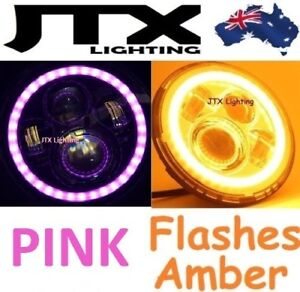 """PINK Halo LED Headlights 7""""  Flashes AMBER when turning Buick Electra Riviera"""