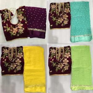 New Collection Indian Bollywood Wedding Georgette Fancy Designer Saree BlouseMOS