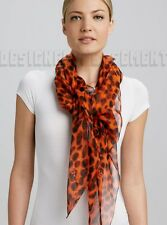 "ALEXANDER MCQUEEN orange SKULL Animal print 52""-Square silk scarf NEW Authentic!"