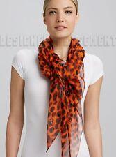 "ALEXANDER MCQUEEN orange SKULL Animal print 52""-Square silk scarf NEW Authentic!"