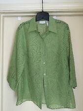 ALFRED DUNNER Green Woven Burnout 3/4 Top Blouse Size 10 EUC